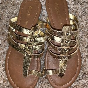 Gold one tie sandal